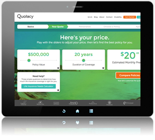 Compare term insurance rates - Quotacy screenshot