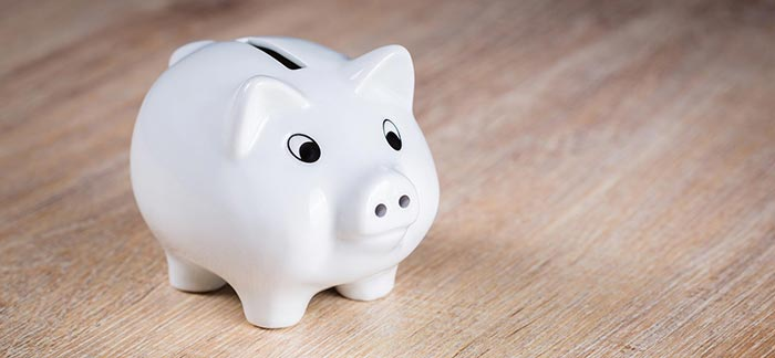 Image of piggy bank sitting on table for Quotacy blog How to Save Money on Life Insurance.