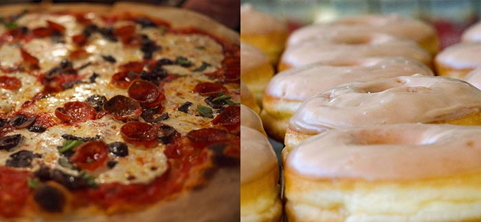 Image of comparing pepperoni pizza to glazed donuts for Quotacy blog The Differences Between Term & Permanent Life Insurance.
