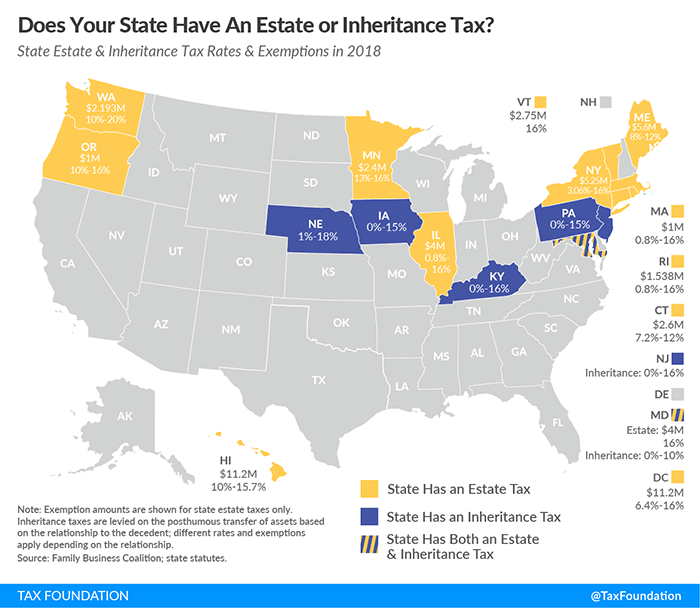 united states estate tax and inheritance tax map