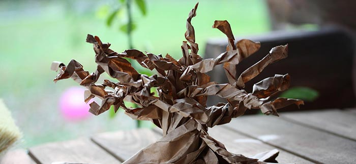 Image of origami bonsai tree made of craft paper for Quotacy newsletter Finding Your Financial Soulmate.