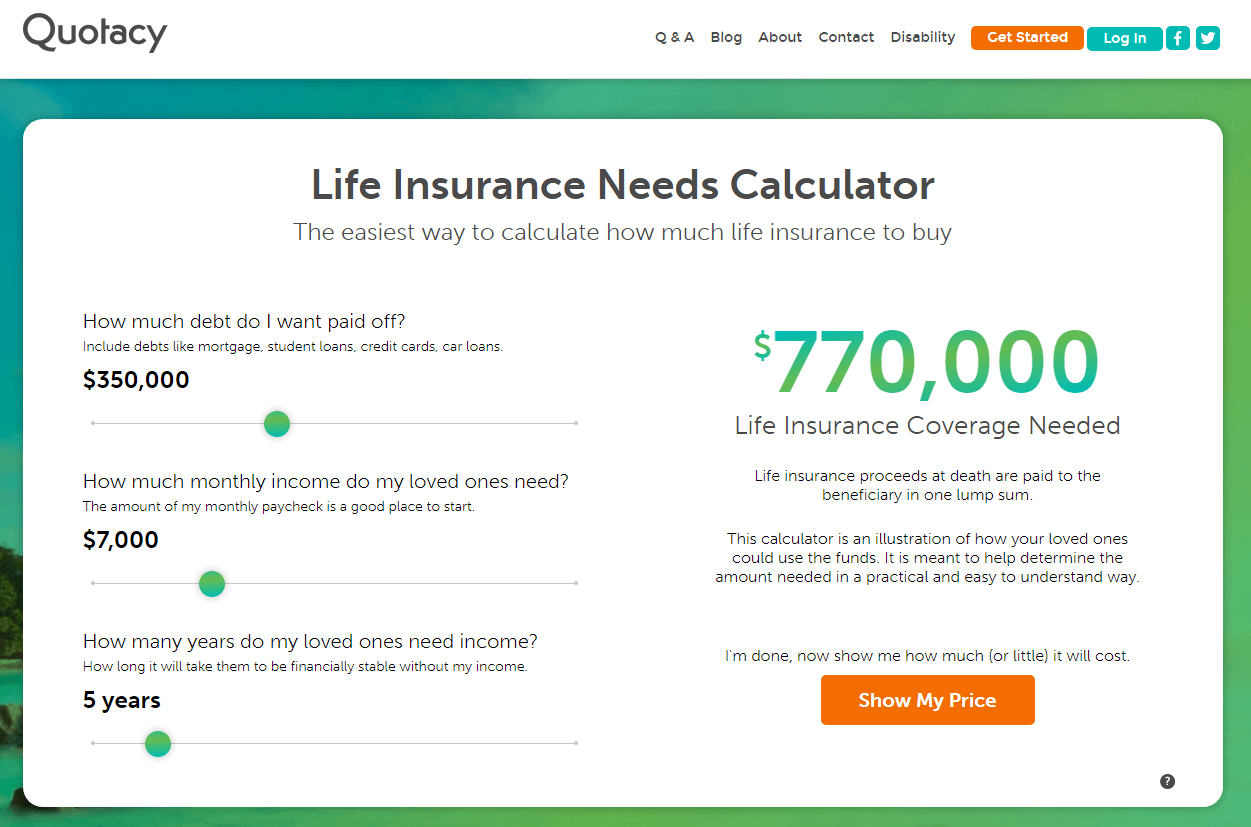 screenshot of Quotacy life insurance needs calculator for $700,000