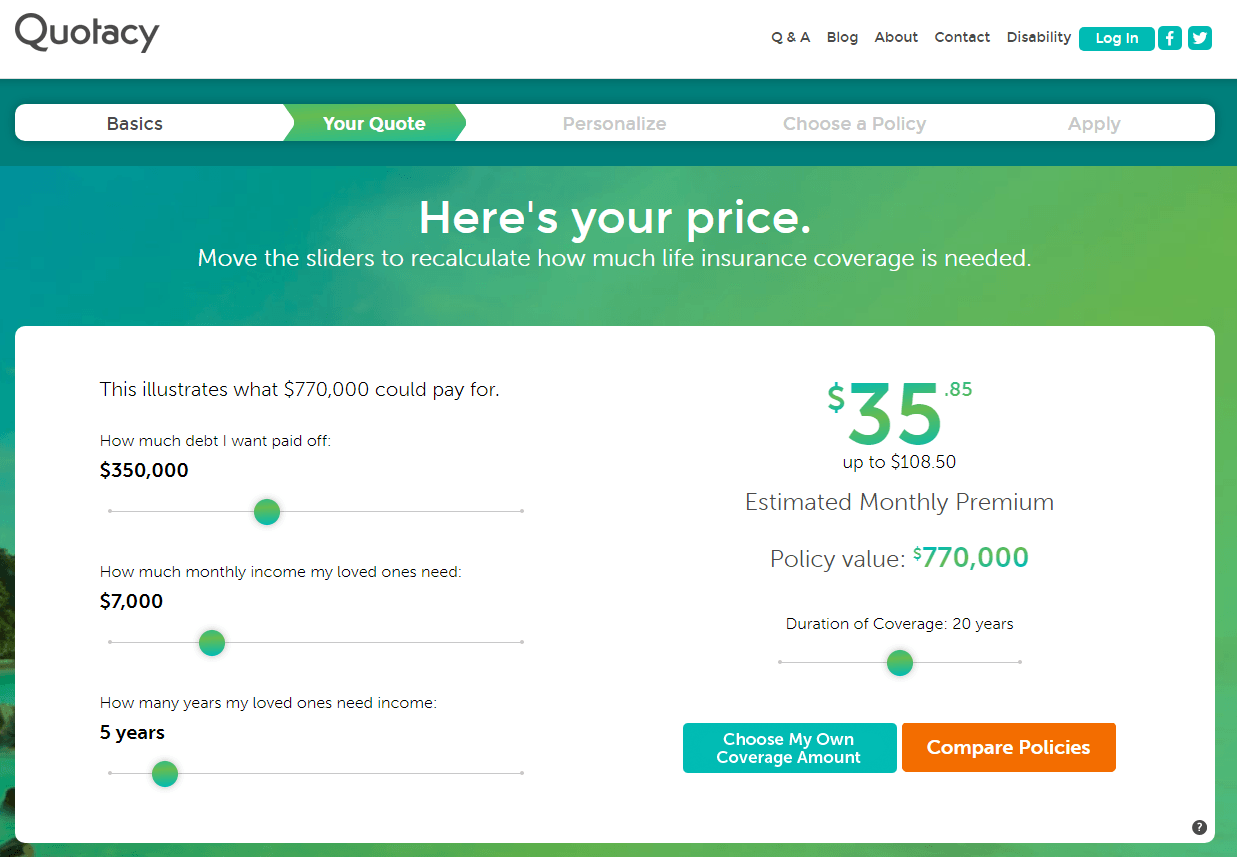 screenshot from Quotacy needs calculator showing cost of $850,000 policy