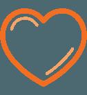 Quotacy, Inc. orange icon set: heart.