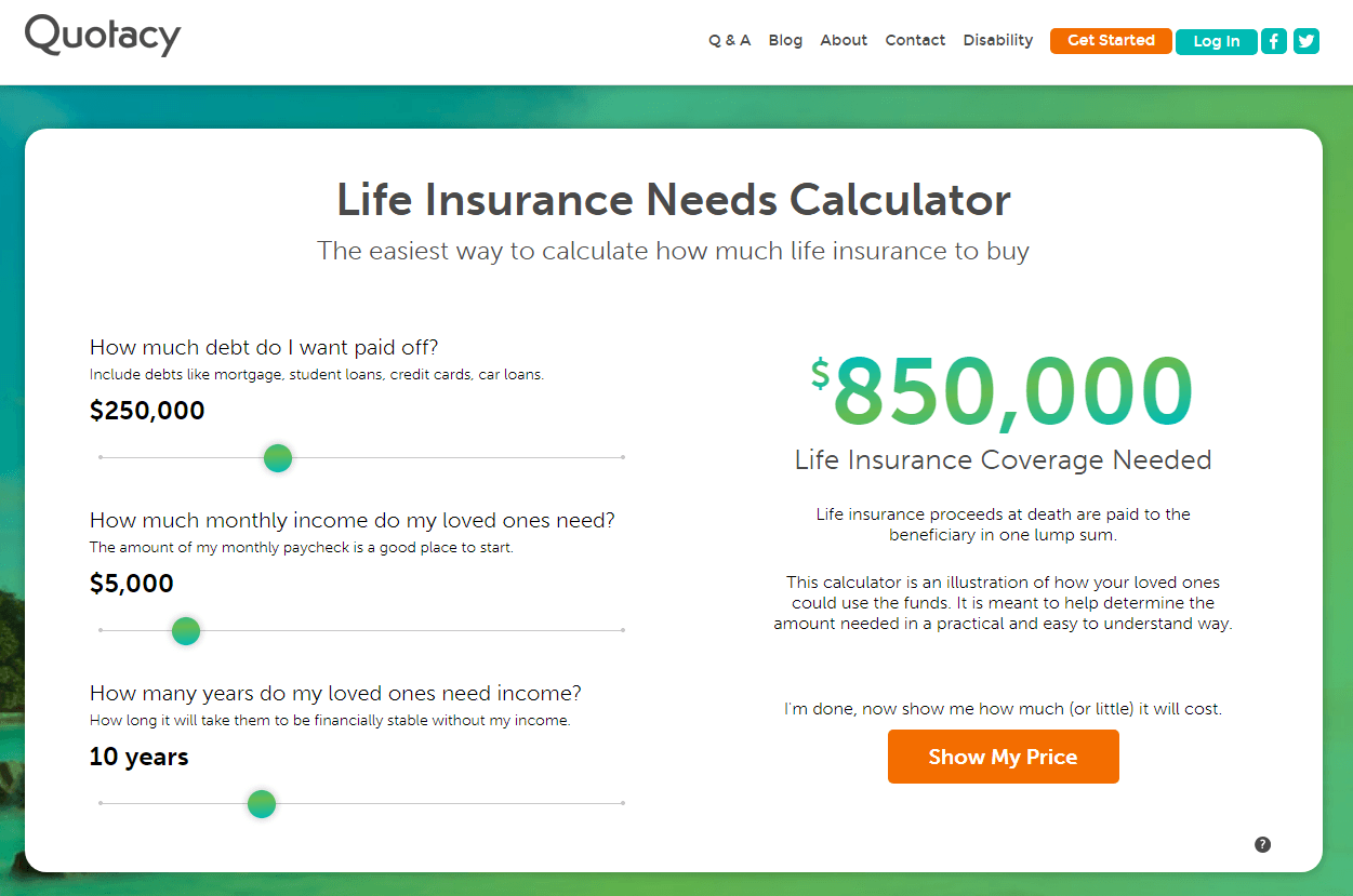 screenshot of Quotacy life insurance needs calculator for $850,000