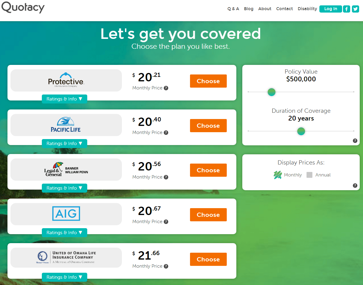 screenshot of Quotacy term insurance quotes