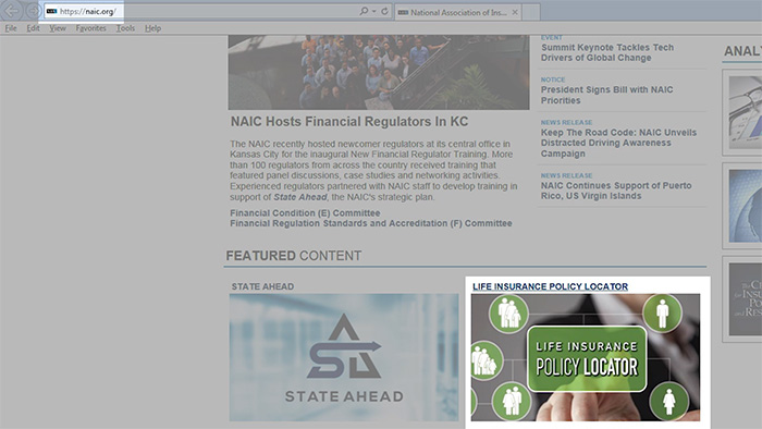 screenshot of NAIC.org's policy locator tool