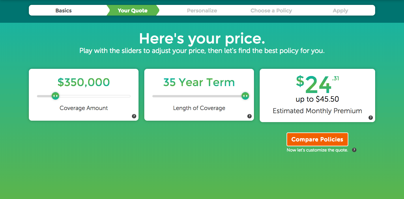 Image of term life insurance quote for $350,000 in premium.