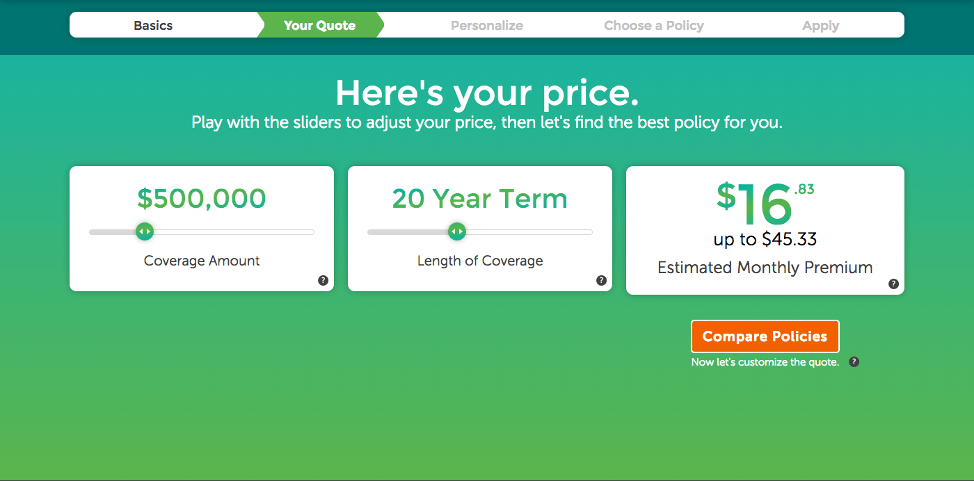 Image of term life insurance quote for $500,000 in premium.