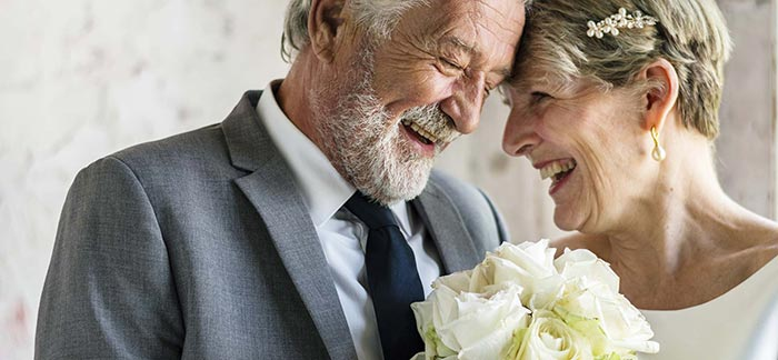 mature couple on their wedding day for Quotacy blog Your Life Insurance Beneficiary Review Guide