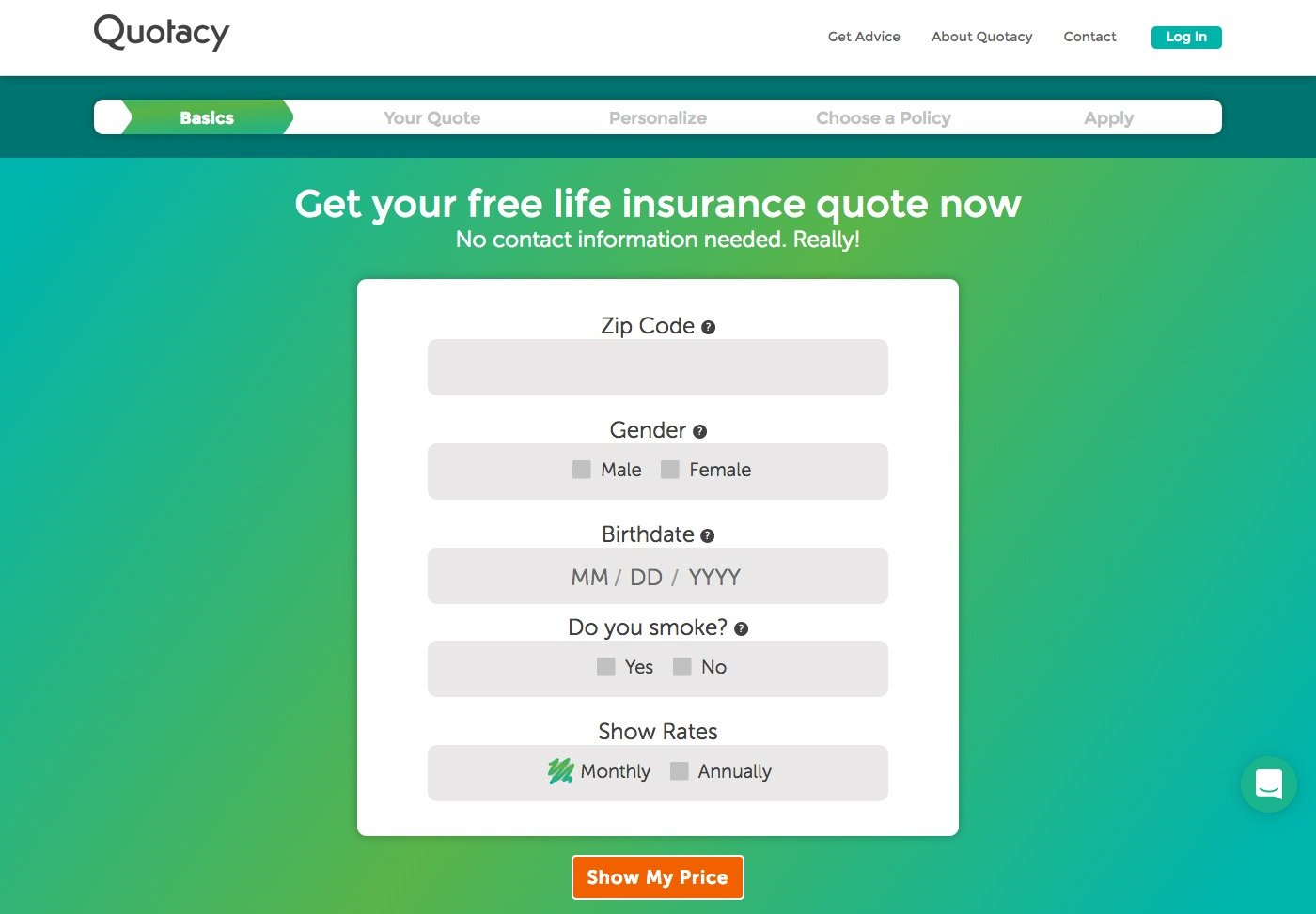 screenshot of Quotacy term life insurance quoting tool