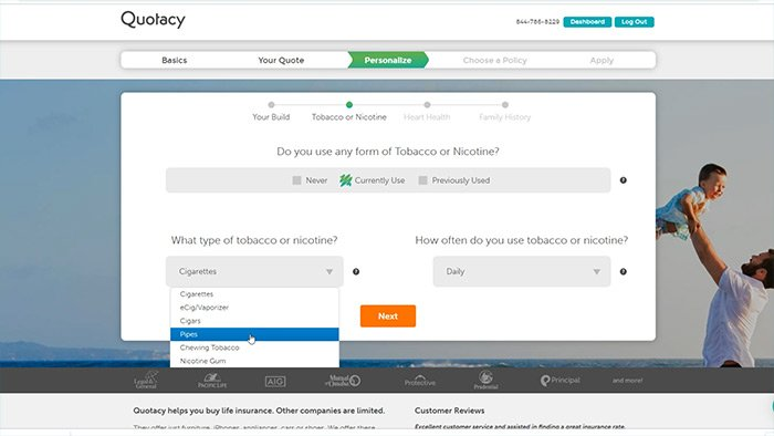 Screenshot of Quotacy online life insurance application for type of tobacco use