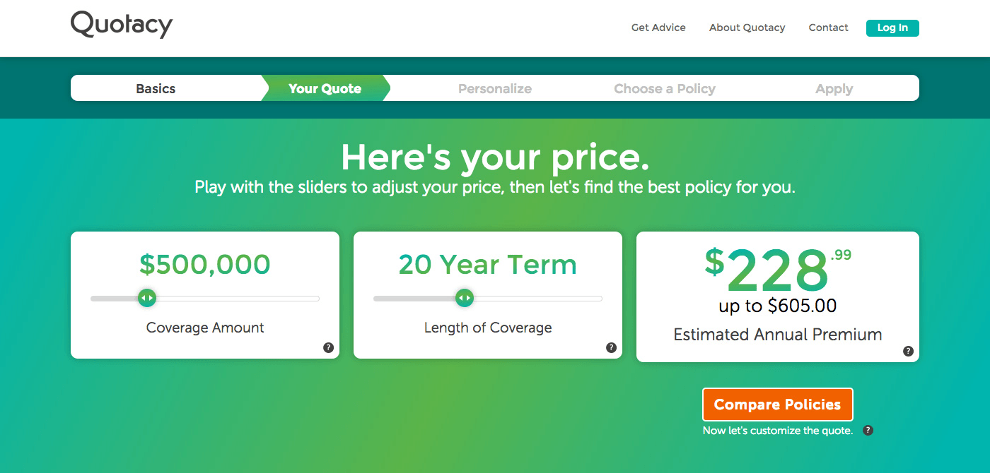 Image of annual premium quote for $500,000, 20-year term life insurance policy at Quotacy.