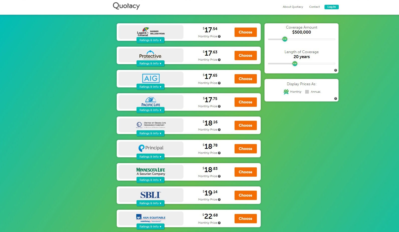 screenshot image of Quotacy's life insurance providers