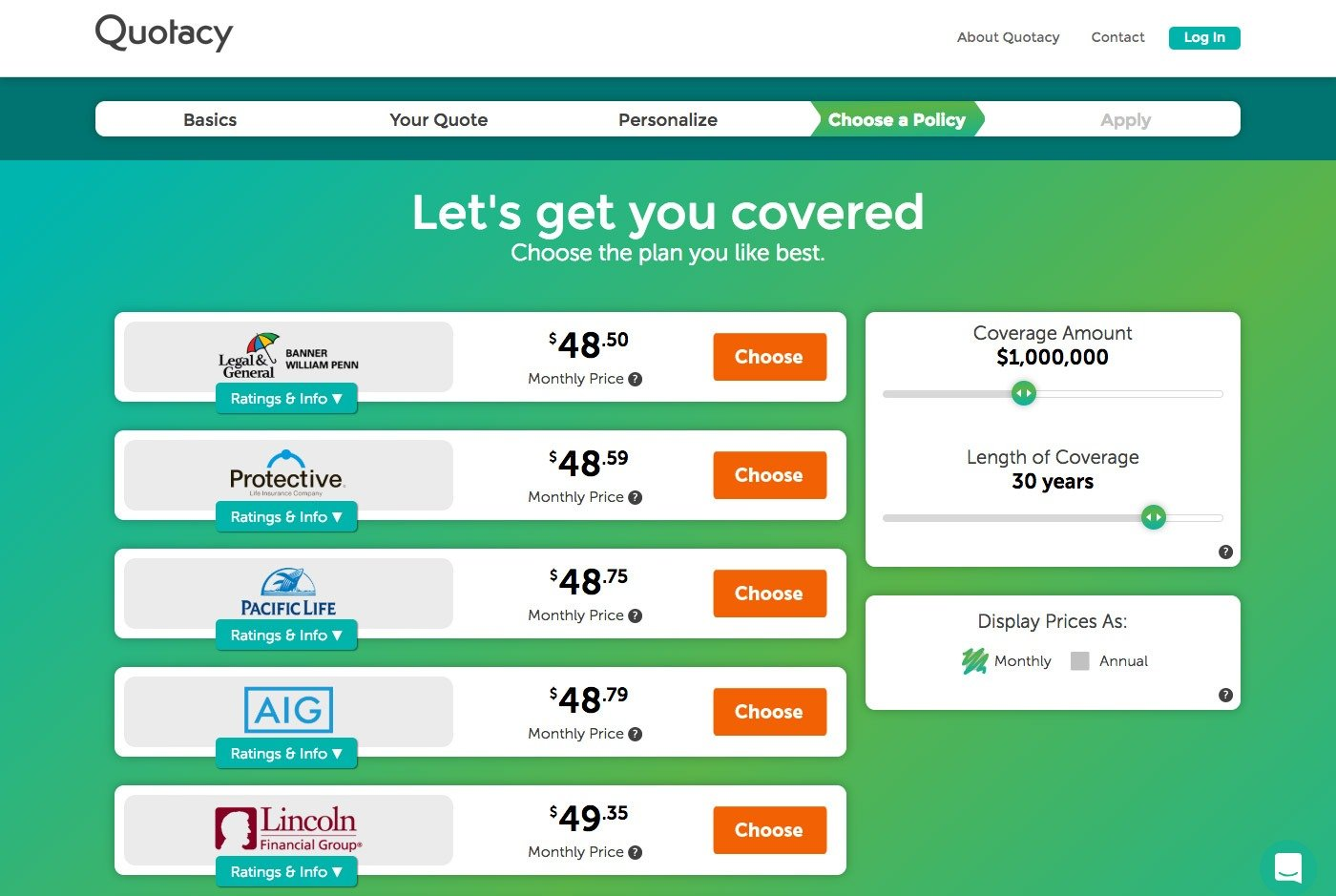 Quotacy quoting tool showing 1,000,000 dollars in term coverage options