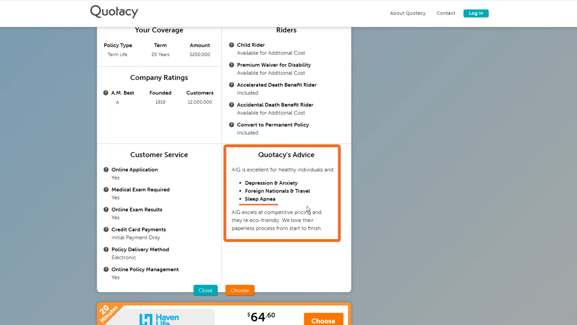 screenshot of Quotacy's life insurance quoting tool showing advice