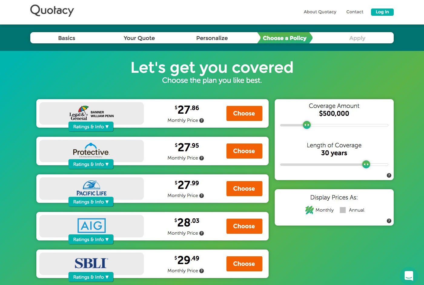Quotacy quoting tool showing $500,000 in term coverage options