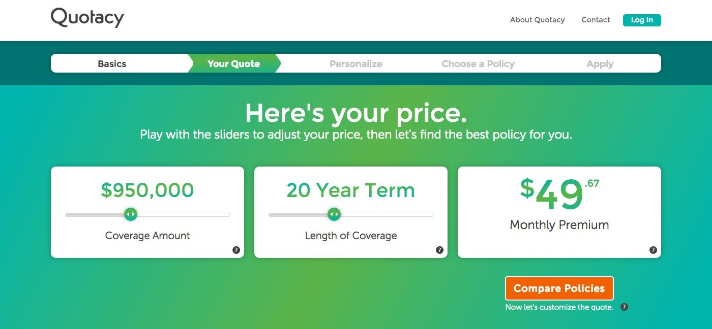 Quotacy quoting tool showing $950,000 term insurance pricing