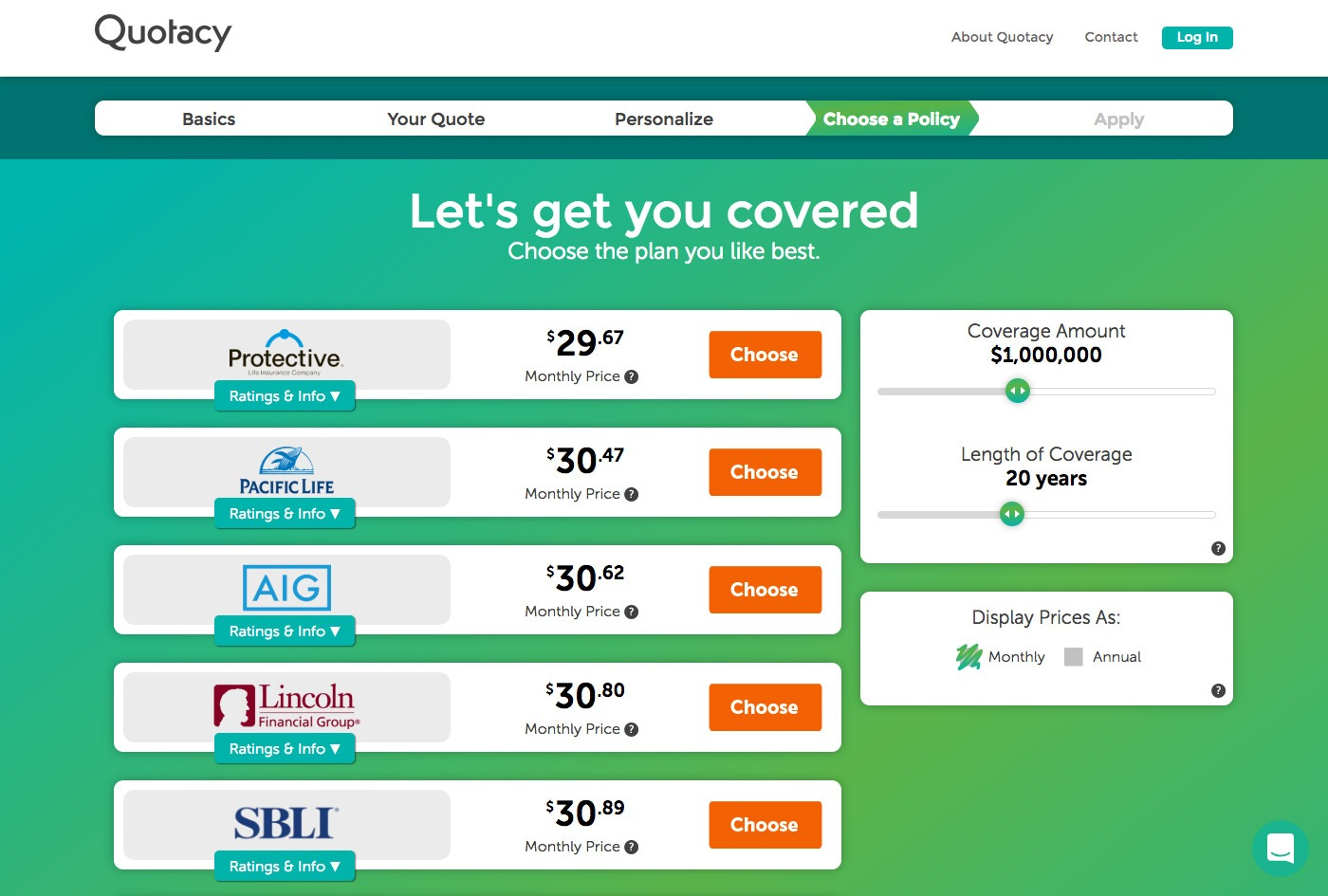 Quotacy quoting tool showing carrier options for $1,000,000 term coverage