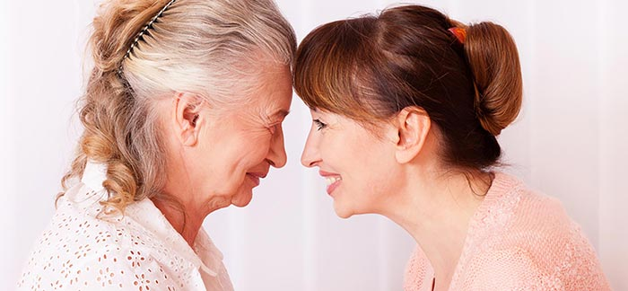 Image of senior mom and adult daughter for Quotachy blog: Term Life Insurance Option for Seniors.