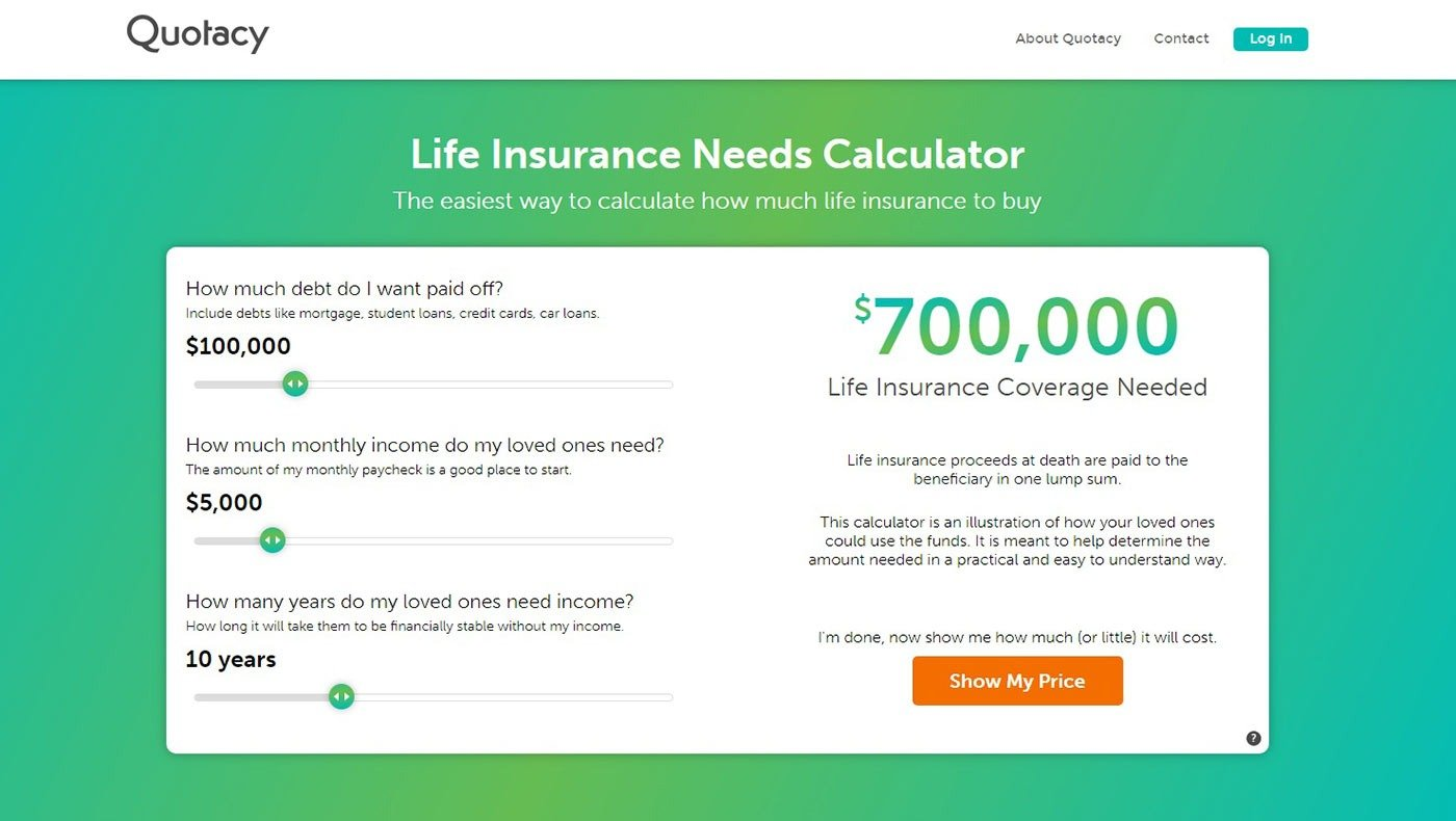 Screenshot of Quotacy's life insurance needs calculator for Quotacy blog Determining Your Average Life Insurance Cost