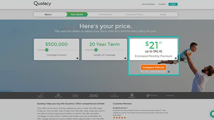 screenshot of monthly term life insurance quote from Quotacy.com