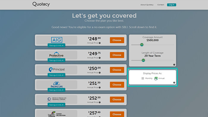 screenshot of term life insurance quoting process from Quotacy.com showing annual premium option