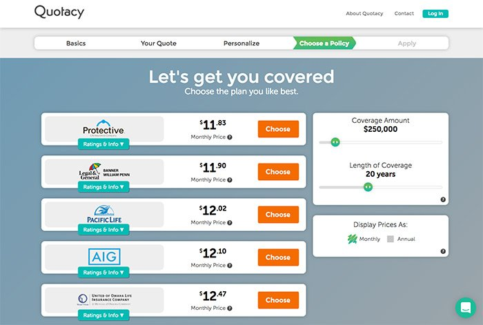 Image of the Quotacy all carrier page showing monthly prices.