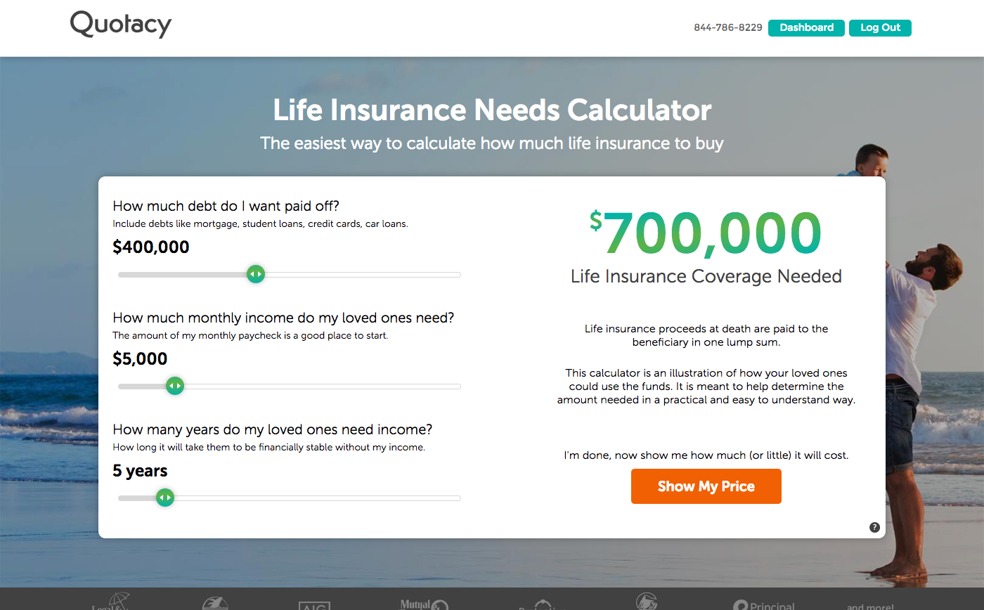Image of the Quotacy life insurance needs calculator.