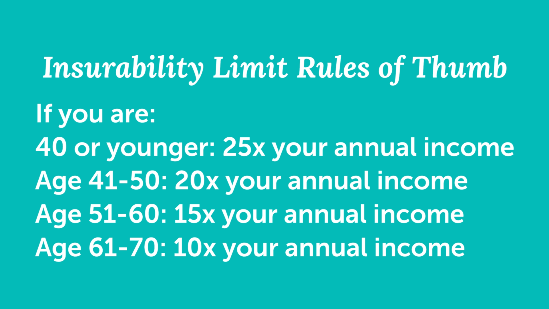 slide showing example of life insurance insurability limits
