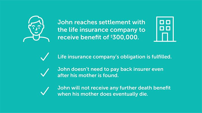 example of death benefit settlement for an insured person who went missing