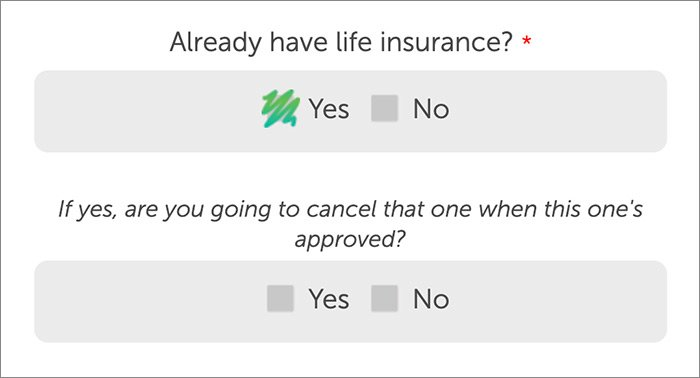 screenshot of Quotacy's online life insurance application showing policy replacement