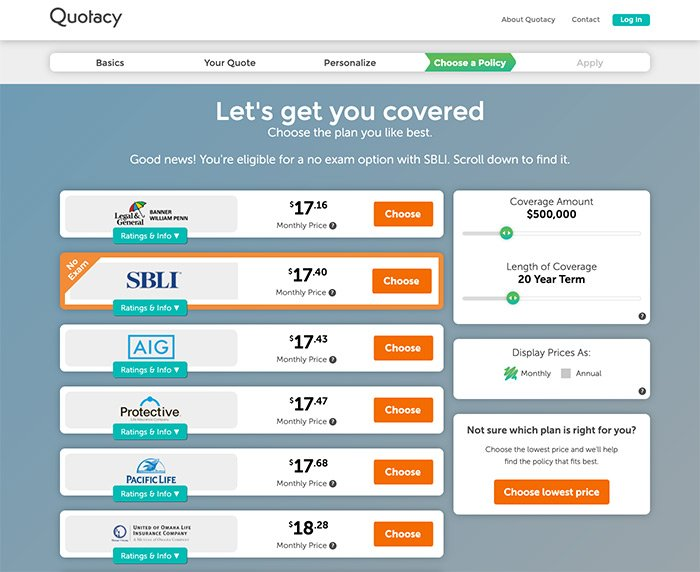 term life insurance policy options from Quotacy.com