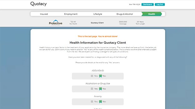 Quotacy's online application medical conditions