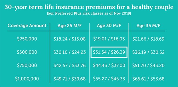 example of 30 year term life insurance quotes for healthy young millennial couple