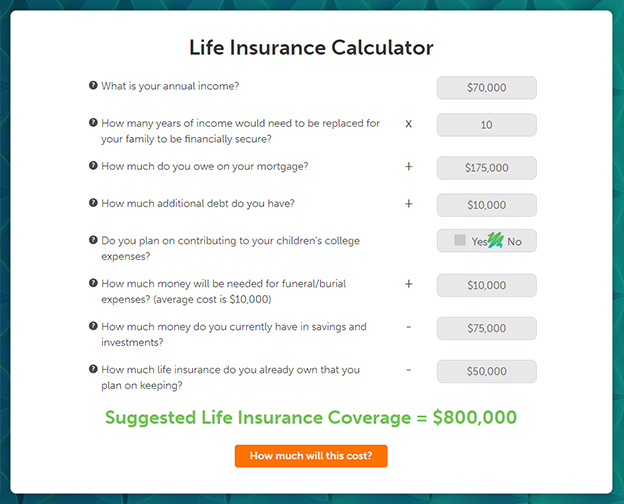 life insurance calculator on Quotacy.com