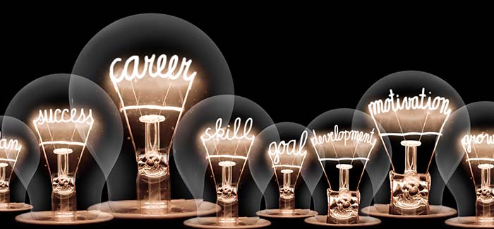 light bulbs for Quotacy blog about career goals
