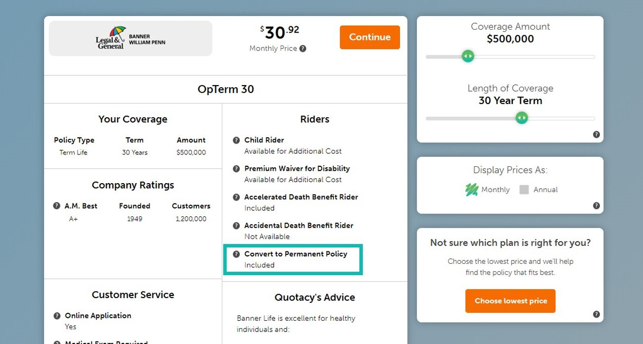 Quotacy term life insurance quoting tool showing term conversion rider