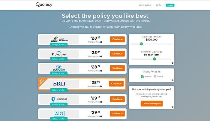 choosing life insurance company on Quotacy lfie insurance quoting tool
