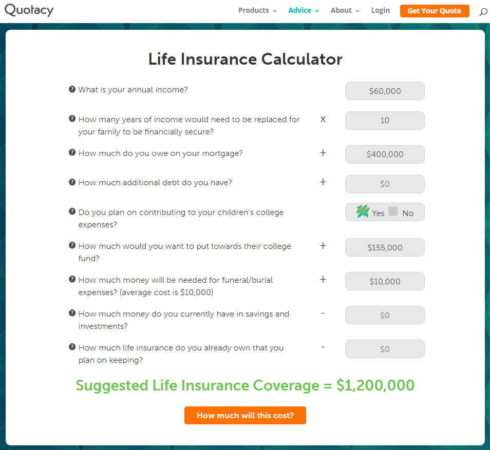 image of Quotacy life insurance needs calculator for million dollar blog